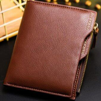 Harga Baborry Men Short Wallet with the Zipper Wallet Men Wallet Design Top RFID Antimagnetic Anti RFID - Coffee