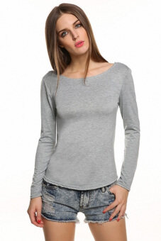 Harga GETEK New Sexy Women Ladies Sexy Long Sleeve Backless Lace Decor Slim Casual Tops Blouse S-L (Grey)