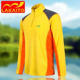 Harga Tops Breathable Men Outdoor Quick Dry T Shirts Long Sleeve Sweatshirt Half Zip Pullover Workout Hiking Mountain Shirts Tops Breathable –Yellow