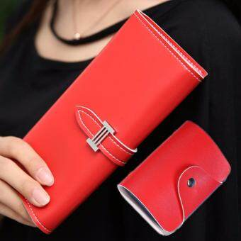 Harga PU Leather Long Wallet + Card Holder (Red)
