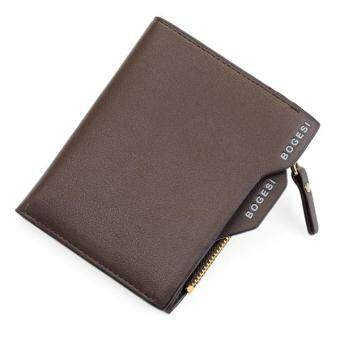 Harga Bogesi 2017 Men Wallets with Coin Bag Zipper Famous Brand Mens Wallet Male Money Purses Wallets New Design Top Men Wallet(Brown)