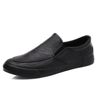 Harga Lechgo Men Classic Leather Lazy Slip-On Casual Shoes Loafers (Black) NYY081