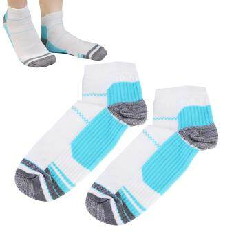 Harga NUOLUX Pair of Foot Compression Socks for Plantar Fasciitis Heel Spurs Pain Relief (Blue+White)