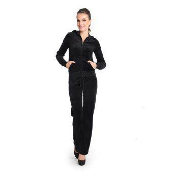 Harga JUICY COUTURE Original Eagle & Crown Jewels Velour Jacket and Original Pants (Black) (MADE IN USA)