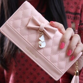 Harga Luxury Korean Sweet Lady Small Fresh Bow Long Wallets Fashion Women Money Clip Wallet Bags