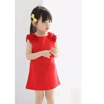 Harga girls dress in red for sales