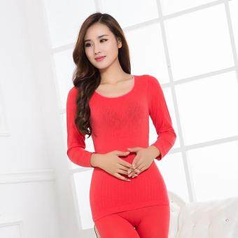 Harga Modal thermal underwear female thin long Johns suit(Watermelon red)