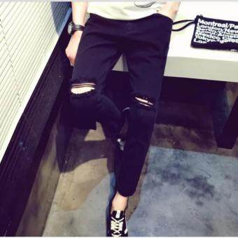 Harga ZH Shopping Knee hole tight jeans jeans Black