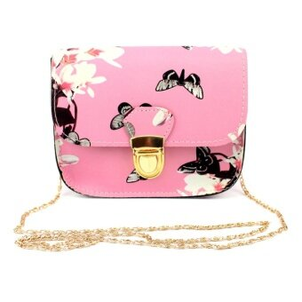 Harga Fashion Women PU Leather Ladies Print Letter Shoulder Bag Handbag (Pink)