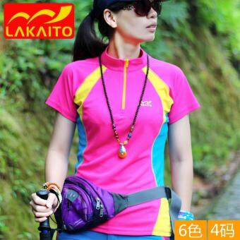 Harga Lady Summer Outdoor Hiking Hunting Sports T Shirt Quick Dry Short Sleeve Climbing Tee Tops