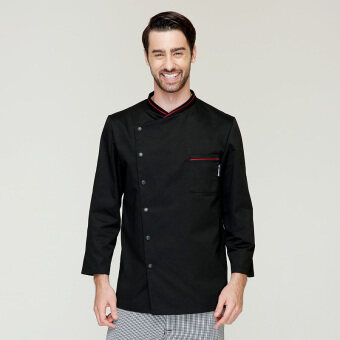 Harga Men's chef long sleeved uniform kitchen chef service clothing chef uniform overalls long sleeve black color