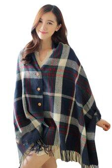 Harga L8902 Tartan Lambswool Scarf - Dual use with Button (Blue)