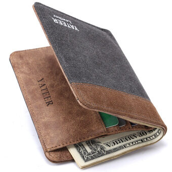 Harga Fashion Men's Wallets Denim Canvas Thin Men's small Wallet Men's Purses Short Mini Male Wallet Male Quality Money Purses (Grey)
