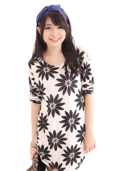 Harga LuvClo (Fit M~3XL) Sweet Daisy Printed Long Sleeves Loose Top (White)