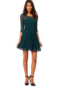 Harga S & F Candy-colored Lace Dress (Dark Green)