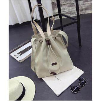 Harga NiCol Large Capacity Canvas Casual Korean Style Tote Bag (Creamy White)