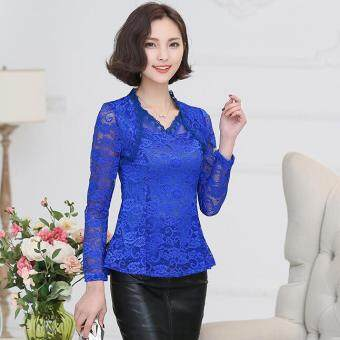 Harga 4XL plus size long-sleeved lace shirt blouses embroidered floral lace flounced crochet Blusas blue - Intl