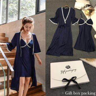 Harga Loveu 2 Piece Robe & Chemise Nightgown Sleepwear Set with Lace Trim Soft Sleep Dress Home Wear Best Valentine Lover Gift Birthday Gift Sexy Lingeries for Girl Lady Women
