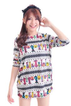 Harga LuvClo (Fit M~3XL) Cute Mini Animals Printed Long Sleeves Top White