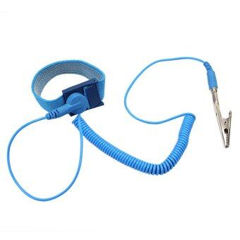 Harga 1x Anti Static Antistatic Elastic Wrist Strap Band ESD Grounding Wristband Blue