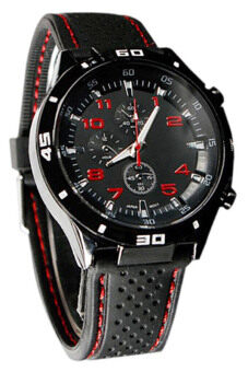 Harga Bluelans Red Number Racer Military Pilot Silicone Sport Wrist Watch