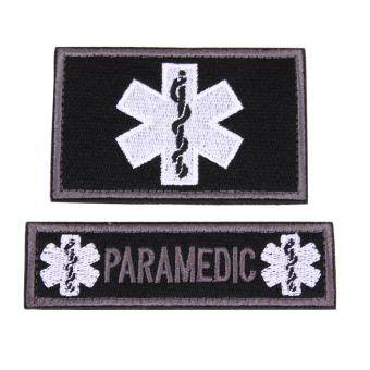 Harga 2pcs/set Medical Technician EMT Embroidered Patches Military(Black)