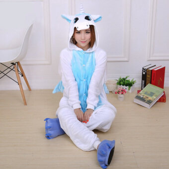 Harga Yika Unicorn Adult Unisex Pajamas Cosplay Costume Onesie Sleepwear S-XL (Blue)