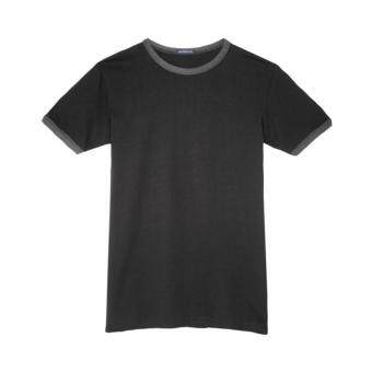Harga F.O.S NAVY & NAVY MEN BASIC BLACK CREW NECK TEE