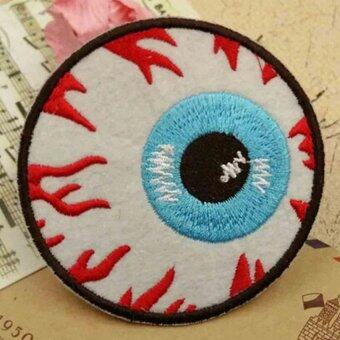 Harga Goth Punk Rock Blooding Eyeball Embroidered Iron On Applique Motif Patch DIY S5cm - Intl