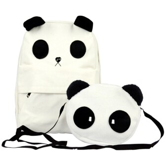 Harga Women's Lady's Korean Style Lovely White Panda Canvas Backpack With a Small Panda Shoulder Bag