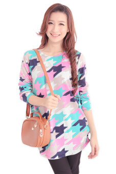 Harga LuvClo (Fit M~3XL) Colorful Houndstooth Long Sleeves Loose Top (Pink)