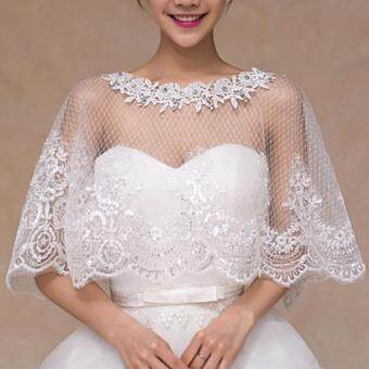 Harga Leondo ivory lace bridal dress capes with lace border tulle for wedding