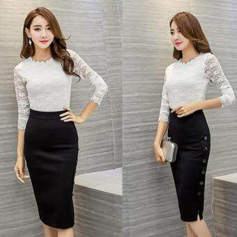 Harga BUYINCOINS Women Midi Skirt Slim OL Sexy Open Slit Button Slim Pencil Skirt Elegant Ladies Dress S-Black