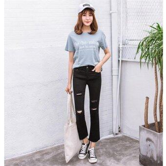 Harga Black Korean Ripped Jeans High Waist Skinny Jeans Women Pants Trousers Sexy Hole Jeans Woman Ninth Pencil Jean