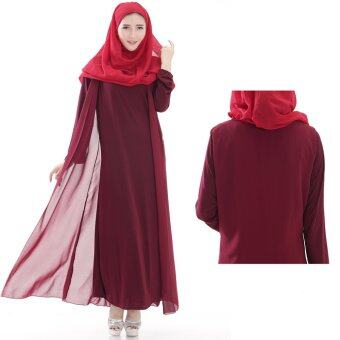 Harga Women Comfortable Muslimah Robes Muslimah Dresses Long-sleeved Cotton Gown Jubah Red