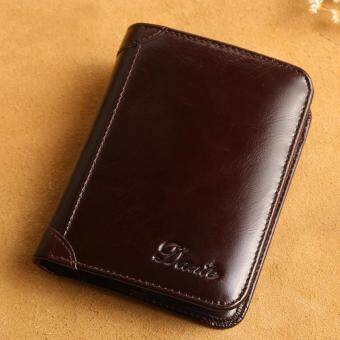 Harga Italian Mens Wallet 100% Genuine Cow Leather Credit Cards Money Holder (Coffee)