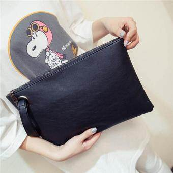 Harga NiCol Envelope Solid PU Leather Vintage Zipper Clutch Bag (Black)