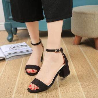 Harga LCFU764 Women PU Sandals Shoes With Thick Heel Strap-black