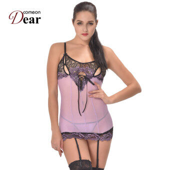 Harga RI80298 Cross-Dye Lace Peek-A-Boo Cup Baby doll Sex Lingerie Newly Sexy Lingerie Plus Size Dress+G string Lenceria Erotica Mujer