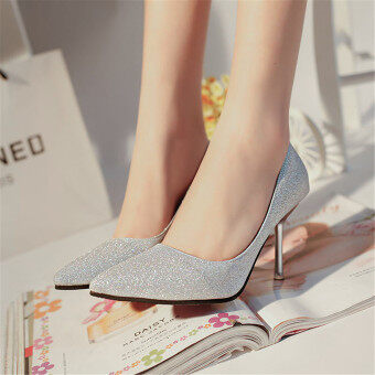 Harga LCFU764 Pointed high heel wedding shoes lighter sexy and nubuck shoes-silver