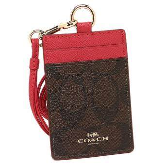 Harga Coach F63274 Signature Dark Brown Pink Lanyard
