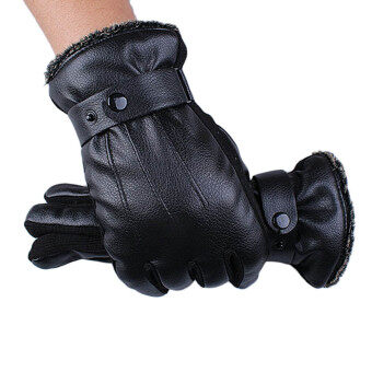 Harga Mens Luxurious Leather Winter Super Driving Warm Gloves Cashmere Black