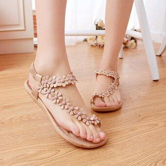 Harga LALANG Hot Sales Summer Women Sandals Bohemia Flower Casual Toepost Flats Shoes Apricot