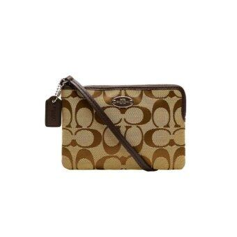 Harga Coach 64375 Signature Corner Zip Wristlet (Brown)