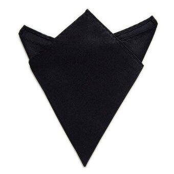 Harga New 1PC Men Satin Square Soild Blazer Pocket Handkerchief Wedding Party Favor(Black)