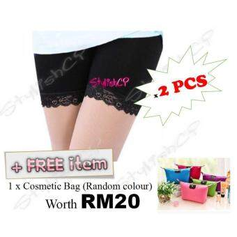 Harga New Stylish Hot Sale Fashion Women Sexy Boxers Shorts Safe Pants Underpants Panties Underwear ( 2 Pcs) + FREE Cosmetic Bag