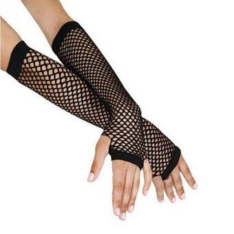 Harga Punk Goth Lady Disco Dance Costume Lace Fingerless Mesh Fishnet Gloves Black