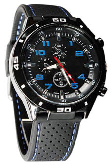 Harga Bluelans Blue Number Military Pilot Silicone Sport Wrist Watch