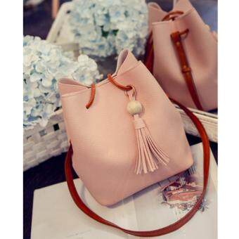 Harga NiCol Korean Style New Tassel Bucket Handbag with Free Pouch (Pink)