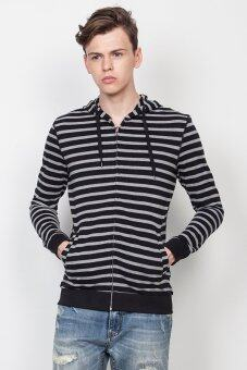 Harga HI STYLE Black & Grey Stripes Hoodies (Black/Grey)
